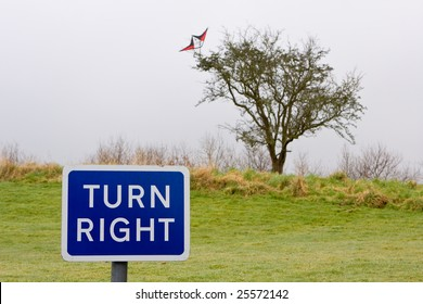 sign saying turn right and behind in the background a kite is stuck in a tree