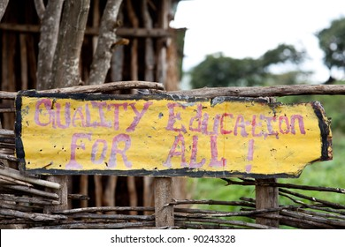 Sign of a school in Ethiopia saying Quality Education For All