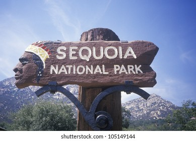 Sign for Sequoia National Park, California