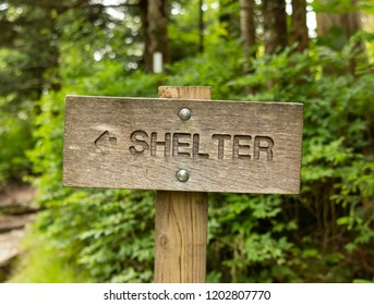 Sign to Shelter in Smokies Forest in Summer