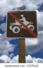 Sign showing ATV restrictions, no ATV or off-road vehicles allowed