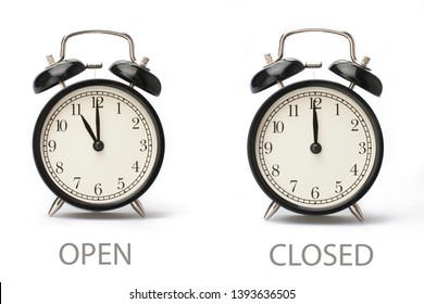 Sign showing business opening hours Isolated on white background Close-up