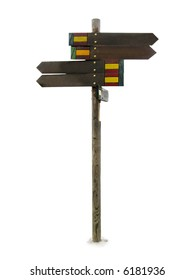 A Sign showing different direction isolated over white