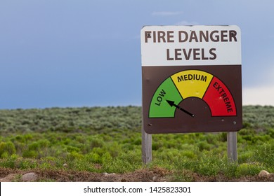 Sign showing the different levels of fire danger for the day