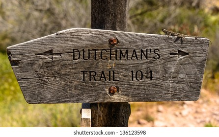Sign showing the Dutchman's Hiking trail #104. near Superstition Mountain, Arizona