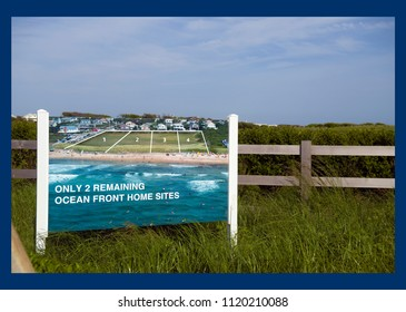 sign showing oceanfront lots for sale for many millions of dollars Ditch Plains, Montauk, New York The Hamtpons
