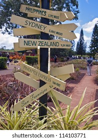 a sign shows distances to major cities around the world from the Dole Plantation on the island of Oahu, Hawaii.