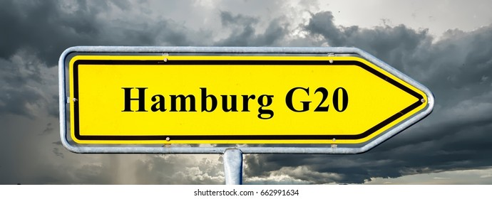 Sign, signpost Hamburg G20 summit
