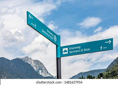 sign Sissiweg in Merano, Italy. Queen Sissi walked that path in her Merano time. It is a touristic attraction.