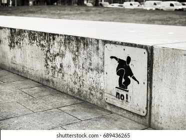sign: Skateboard ban on a wall in downtown Rostock, Germany