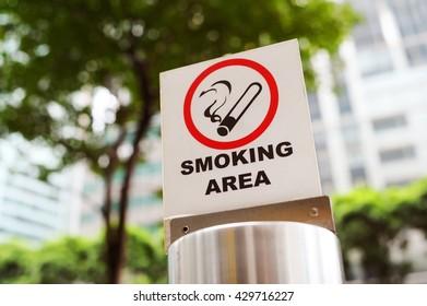 Sign of smoking area