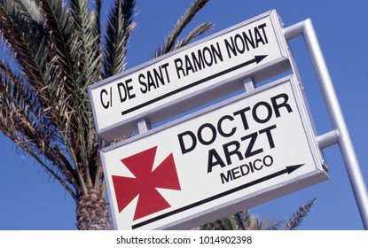 Sign in Spain for doctor ; also in German and English language