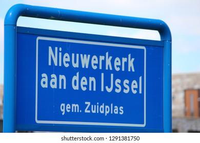 Sign of start urban area of Nieuwerkerk aan den IJssel in the Netherlands, part of municipality Zuidplas
