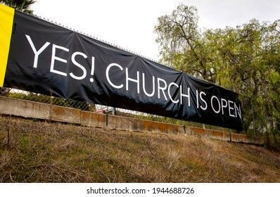 Sign Stating Church Is Now Open
