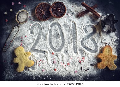 Sign in the sugar of New Year 2018