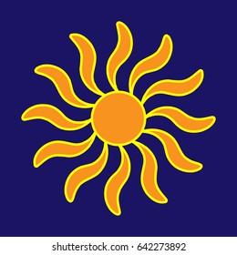 Sign of sun. Colorful sunlight logo. Orange plane icon isolated on blue background. Light flat silhouette. Weather mark. Sunshine symbol. Stock illustration