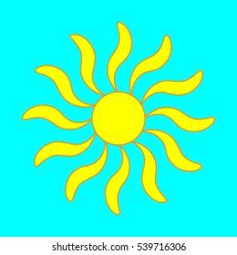 Sign of sun. Yellow plane icon isolated on blue background. Colorful sunlight logo. Sunshine symbol. Light flat silhouette. Weather mark. Stock illustration