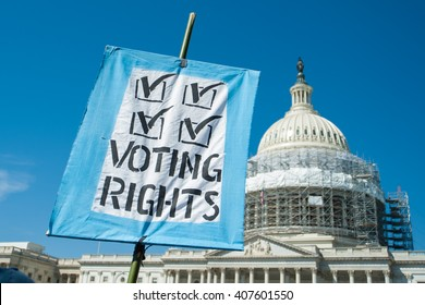 Sign supporting voting rights at the U.S. Capitol