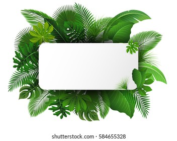 Sign with text space of Tropical Leaves. Suitable for nature concept, vacation, and summer holiday
