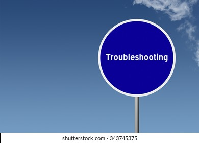 Sign with text Troubleshooting on sky background