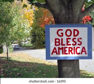 "Sign that says ""God bless America"""