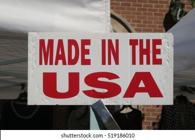 "Sign that says, ""Made in the USA"""