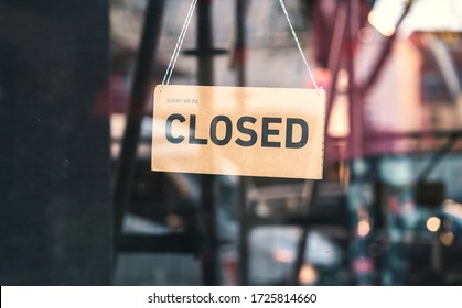 """A sign that says """"Sorry, we're closed"""". Shops in Munich and throughout Germany and Europe close due to financial difficulties and economic crisis."""