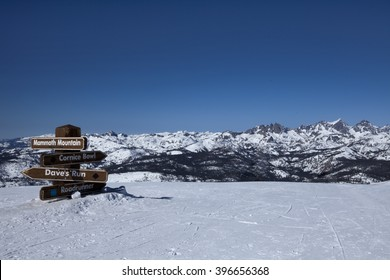 Sign at the top of mammoth Mountain in California