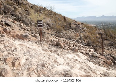 Sign for the trail on Camelback mountain in Phoenix, Arizona