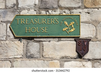 A sign for Treasurers House in York, England.