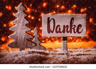 Sign, Tree, Snow, Calligraphy Danke Mean Means Thank You, Red Sportlight