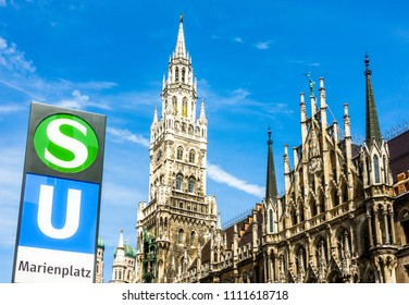 sign for the underground railway and suburban railway at the famous marienplatz in munich - germany