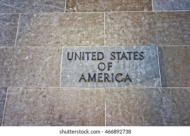 Sign of United States of America is located on the wall of the Department of Justice in Washington D.C., USA. It is responsible for the enforcement of the law and administration of justice in USA.