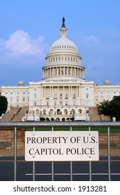 "Sign ""Property of US Capitol Police� with capitol in the background"