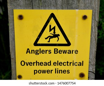 Sign to warn anglers that overhead electrical power lines are a danger