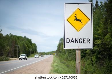 Sign warning motorists of danger from crossing animals