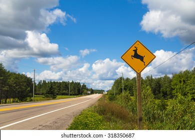 A sign warning people that Deer may run across the road