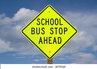 Sign warning of school bus stop ahead often found on rural roads