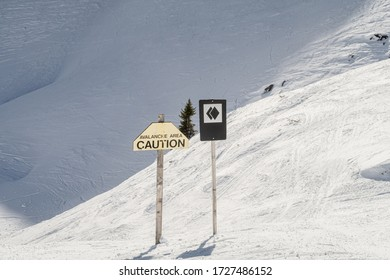 A sign warning that a run is a double black diamond and that there is a risk of avalanches