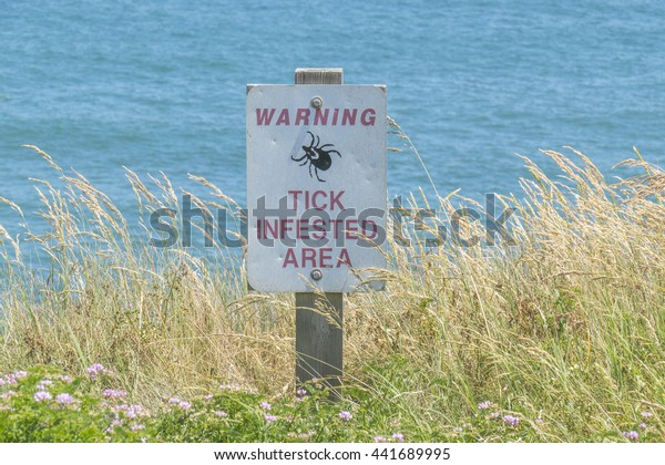 "Sign ""Warning, tick infested area"" on Long Island (USA) seashore"