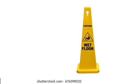 Sign warning , Yellow sign wet floor caution on white background