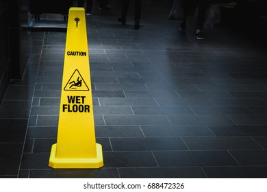 Sign warning , Yellow sign wet floor caution, wet sign on the floor