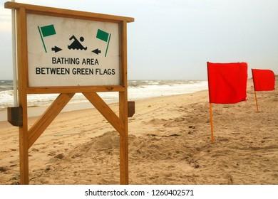 A sign warns ocean swmmers about where it is safe to go into the sea