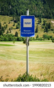 """Sign """"Wasser Schutzgebiet"""" in the Black Forest in Germany. The sign means water conservation area, the water in the area is used for drinking or healing (in spa's) - Shutterstock ID 1990820213"""