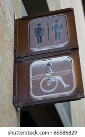 Sign wc for men, women and disabled