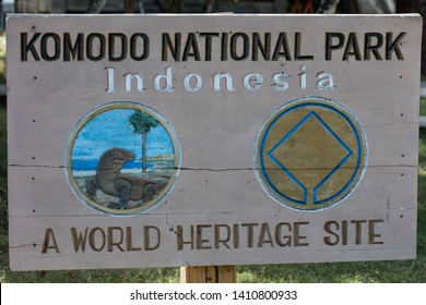 A sign welcomes visitors to Komodo National Park in Indonesia. This beautiful area is known for its Komodo dragons as well as its high marine biodiversity.