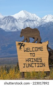 Sign welcoming visitors to Haines Junction, Yukon, Canada