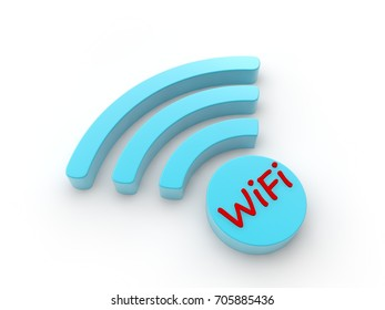 sign Wi Fi deal, and text Wi-Fi red antenna blue color, symbol of the availability of phones and Internet for mobile devices. The idea of speed and security. 3D rendering on white background
