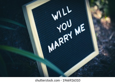 """A sign """"Will you marry me"""" on a board put outside for surprise marriage proposal"""