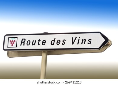 sign wine road. route des Vins, free standing,  France, Europe